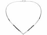 Womens Etched Detail V Collar Necklace Sterling Silver