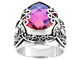 Womens Scroll Detail Ring Pink Volcanic Quartz Triplet Sterling Silver