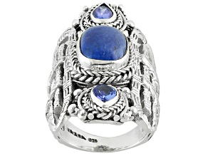 Blue Tanzanite Sterling Silver Ring .74ctw