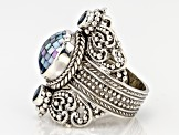 Grey Mosaic Mother Of Pearl Silver Ring .60ctw