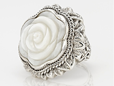 White Carved Mother Of Pearl Silver Ring