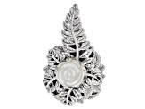 White Carved Mother Of Pearl Silver Pendant