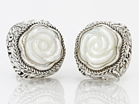 White Carved Mother Of Pearl Silver Earrings