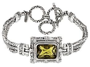 Olive Quartz Silver Bracelet 8.38ct