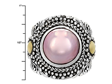 Pearl Mabe Silver And 18kt Gold Ring