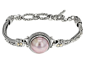 Pearl Mabe Silver And 18kt Gold Bracelet