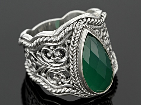 Green Onyx Silver Solitaire Ring
