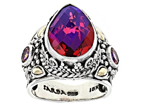 Rainbow Red Volcanic Quartz Triplet Silver And 18kt Gold Ring .60ctw