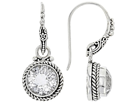 White Quartz Silver Earrings 5.14ctw