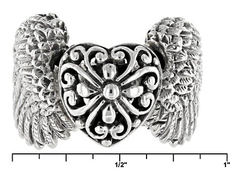 Sterling Silver Angel Wings Heart Ring