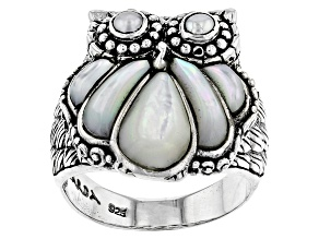 White Mother Of Pearl Silver Owl Ring