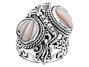 Pink Mother Of Pearl Silver Butterfly Ring