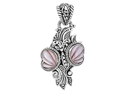 Pink Mother Of Pearl Silver Butterfly Pendant