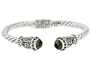 Green Moldavite Silver Cable Bracelet 2.72ctw
