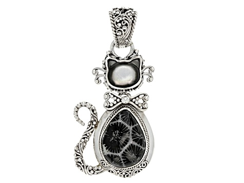 Black indonesian coral silver cat pendant sra1097 jtv black indonesian coral silver cat pendant aloadofball Images