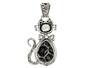 Black Indonesian Coral Silver Cat Pendant