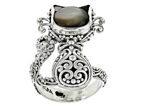 Black Mother Of Pearl Silver Cat Ring