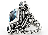 Swiss Blue Topaz Silver Ring 4.17ctw