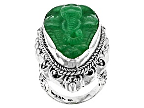 Green Quartz Silver Elephant Ring