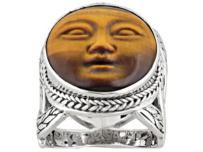 Bi-Color Tiger's Eye Face Silver Ring