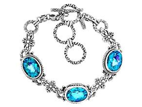 Rainbow Paraiba Blue Quartz Triplet Silver Bracelet