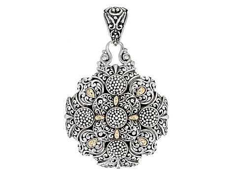 Sterling Silver And 18kt Gold Accent Filigree Pendant