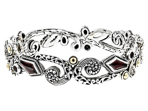 Red Garnet Sterling Silver And 18kt Gold Bracelet 4.08ctw
