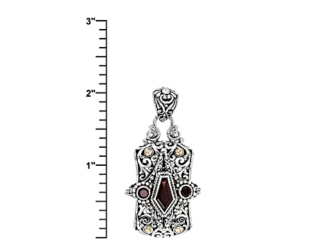 Red Garnet Silver And 18kt Gold Pendant 2.38ctw