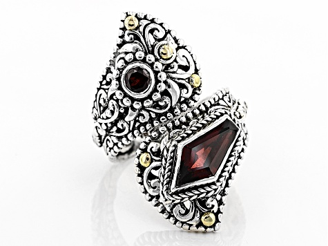 Red Garnet Sterling Silver And 18kt Gold Accent Ring 2.04ctw