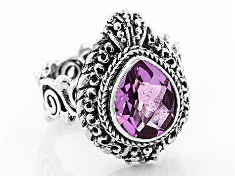 Pink Kunzite Color Quartz Triplet Silver Ring