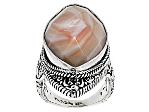 Pink Mother Of Pearl Silver Solitaire Ring