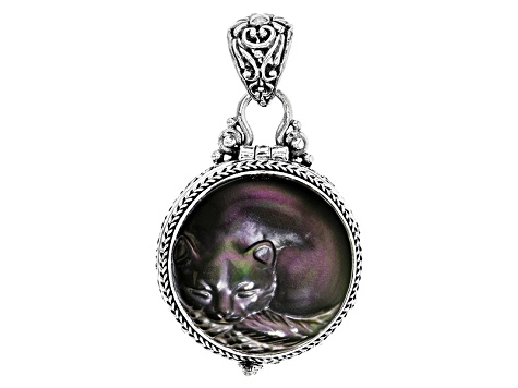 Rainbow obsidian silver carved cat locket sra1156 jtv rainbow obsidian silver carved cat locket aloadofball Choice Image