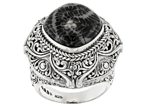 Black indonesian Fossilized Coral Silver Ring