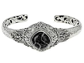 Black indonesian Fossilized Coral Silver Bracelet