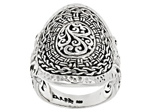 Sterling Silver Filigree And Basketweave Ring