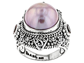 Pink Cultured Mabe Pearl Silver Ring .60ctw