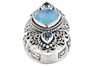 Paraiba Color Quartz Triplet Silver Ring .88ctw