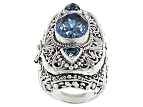 Blue Blueicious™ Quartz Silver Locket Ring 5.90ctw