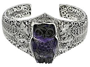 Purple Carved Fluorite Owl Silver Cuff Bracelet