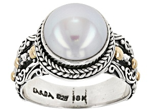 White Cultured Freshwater Pearl Silver With 18kt Gold Accent Ring