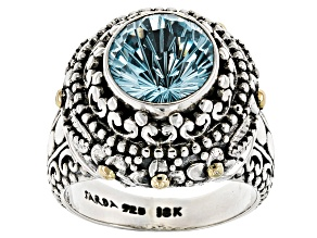 Blue Topaz Silver With 18kt Yellow Gold Accent Ring 4.36ct