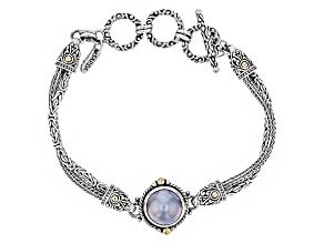 Grey Cultured Mabe Pearl Silver With 18kt Gold Accent Bracelet