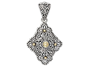 Sterling Silver With 18kt Gold Accent Floral Pendant