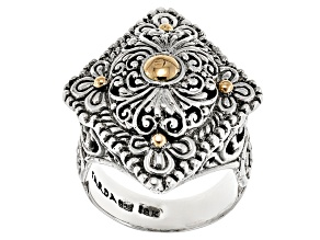 Sterling Silver With 18kt Gold Accent Floral Ring