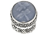 Blue Angelite Dragonflies Silver Ring