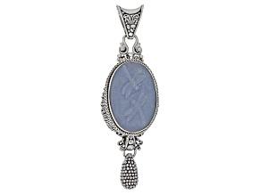 Blue Angelite Silver Dragonflies Pendant