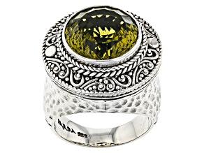Olive Quartz Silver Ring 8.16ctw