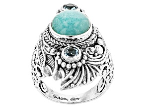 Blue Amazonite Silver Ring .62ctw