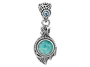 Blue Amazonite Silver Pendant .31ctw
