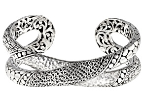 Sterling Silver Mixed Design Cuff Bracelet
